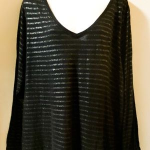Lane Bryant 22/24 long sleeve T black and silver
